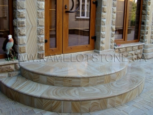 Купить Quartzite-sandstone - Кварцито-песчаник «Ступень радиусная»