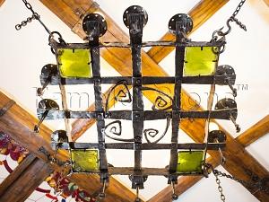 Фасады (фасадные системы) из натурального камня Kings'Stone. - Художественная ковка в интерьере. Кованая люстра с вставками цветного стекла.